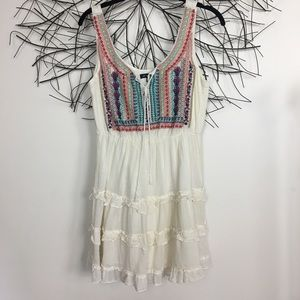 Boho ruffle embroidered cotton sleeveless dress.